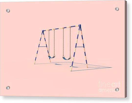 A Swingset In Sunlight On A Pink Acrylic Print