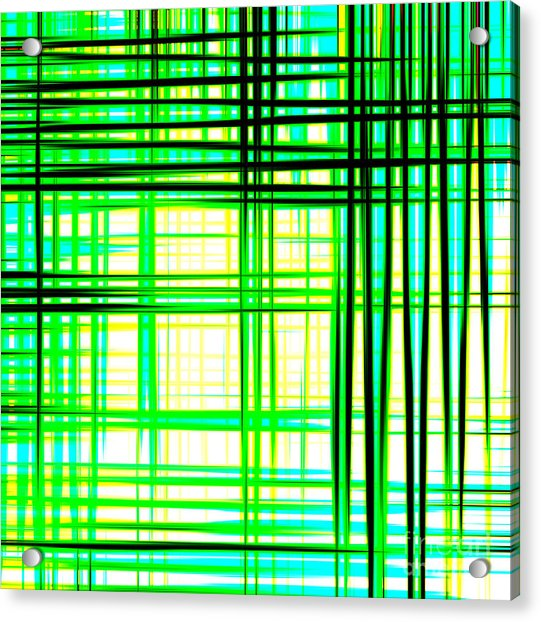 Abstract Design With Lines Squares In Green Color Waves - Pl409 Acrylic Print