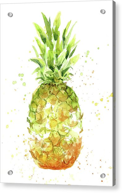 Abstract Watercolor Pineapple Acrylic Print