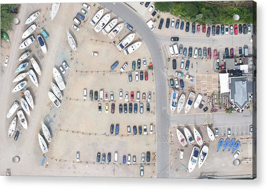 Aerial View Of Dock And Parking Lot Acrylic Print