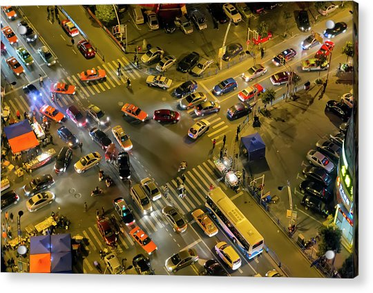 Aerial View Of Road Intersection With Acrylic Print
