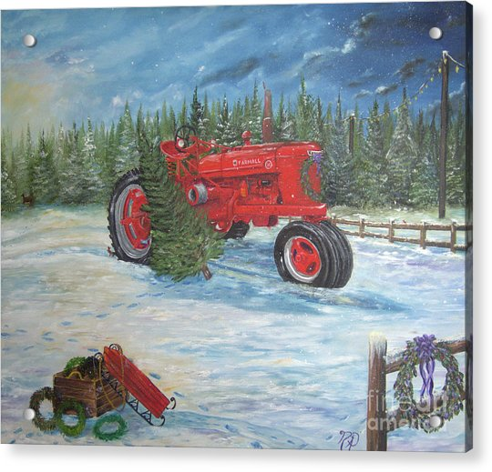 Antique Tractor At The Christmas Tree Farm Acrylic Print
