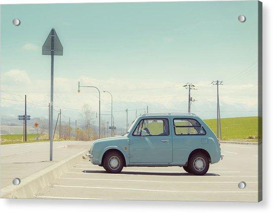 Aqua Color Car In Parking Lot Acrylic Print