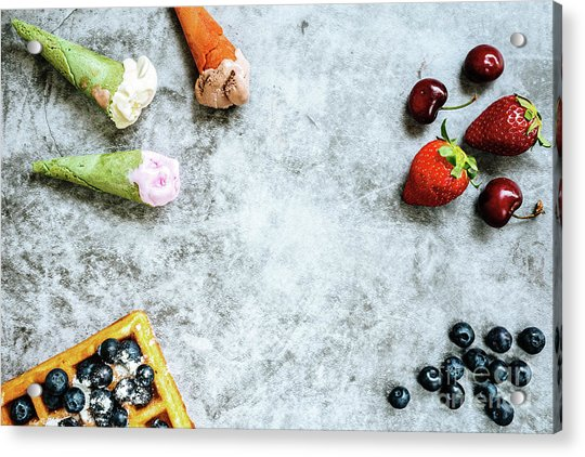 Background Of Tasty And Sweet Foods With Red Fruits And Waffles, Acrylic Print