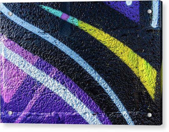 Background With Wall Texture Painted With Colorful Lines. Acrylic Print