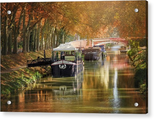 Barges On Canal De Brienne Toulouse France  Acrylic Print