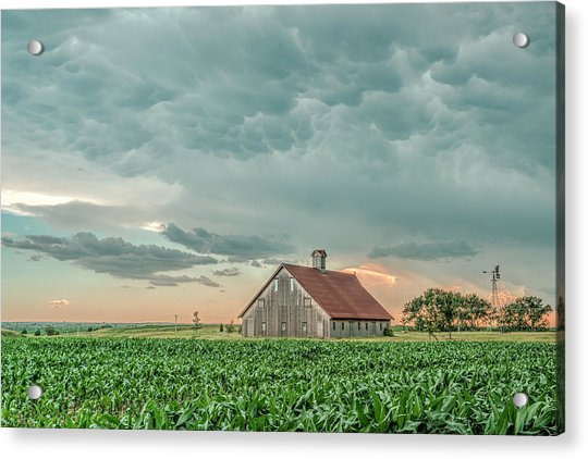 Barn In Sunset Acrylic Print