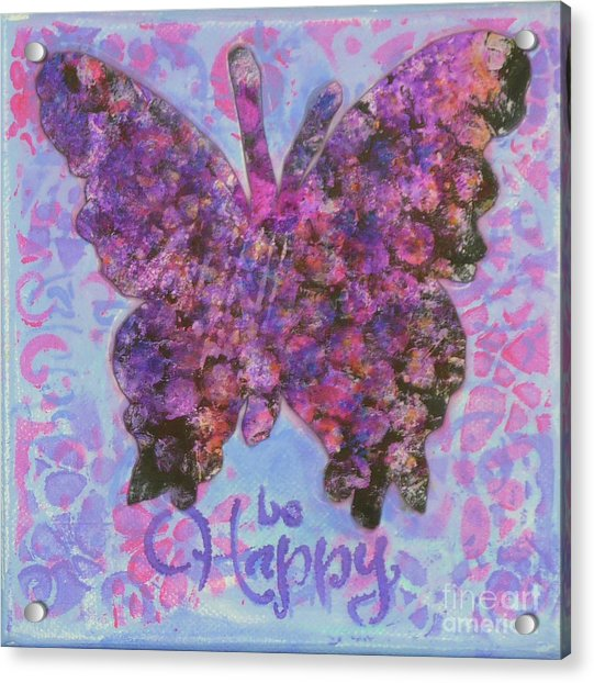 Be Happy 2 Butterfly Acrylic Print