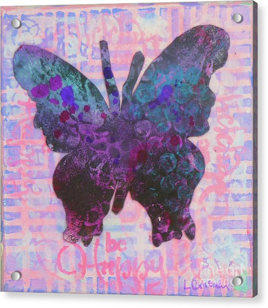 Be Happy Butterfly Acrylic Print