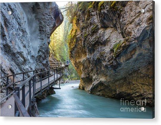 Beautiful Johnston Canyon Walkway With Acrylic Print