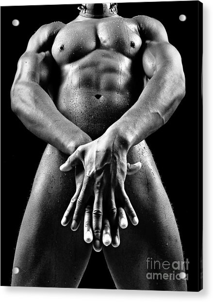 Beautiful Man Nude Or Naked With Great Sexy Body. Image In Black And White Acrylic Print