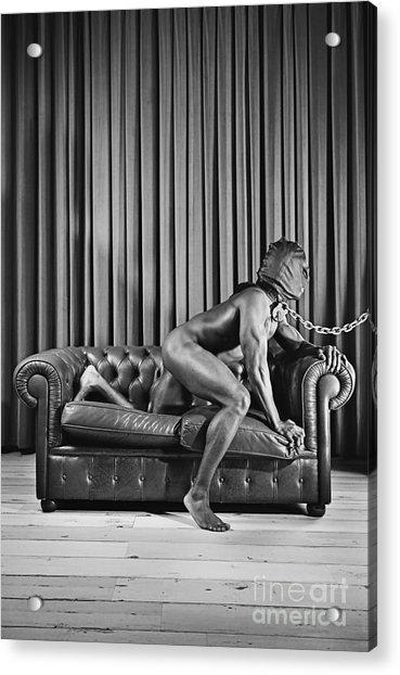 Beautiful Naked Man With Mask Posing On A Sofa Acrylic Print
