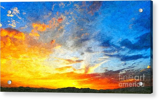 Beautiful Sunset In Landscape In Nature With Warm Sky, Digital A Acrylic Print