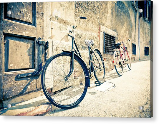 Bicycle Leaning Against Wall Acrylic Print
