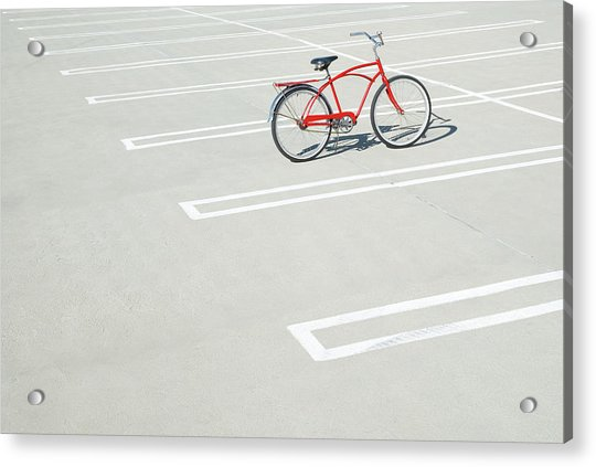 Bike In Empty Parking Lot Acrylic Print by Peter Starman