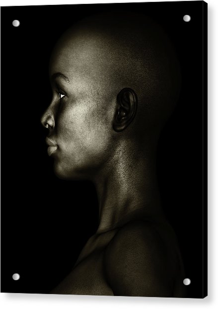 Acrylic Print featuring the photograph Black And White Profile Of An African Woman by Jan Keteleer