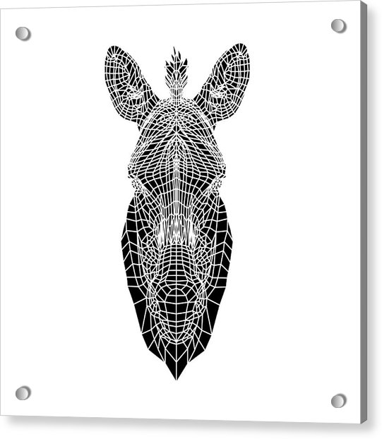 Black Zebra Head Mesh Acrylic Print