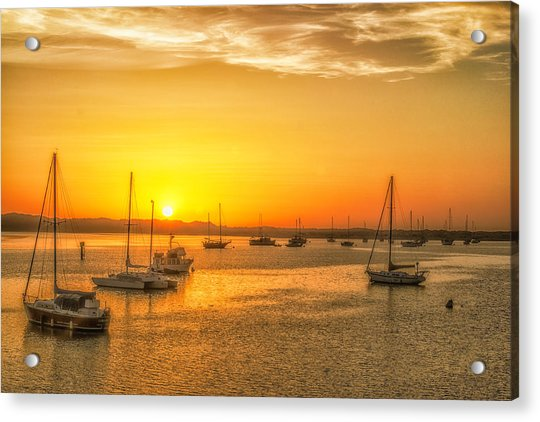 Boats At Sunset Acrylic Print by Fernando Margolles