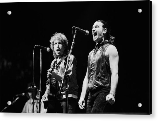 Bob Dylan Performs With U2 In Concert Acrylic Print by George Rose