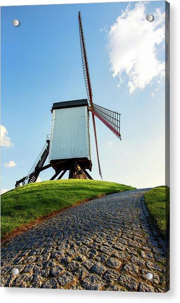 Bonne Chiere Windmill Bruges Belgium Acrylic Print