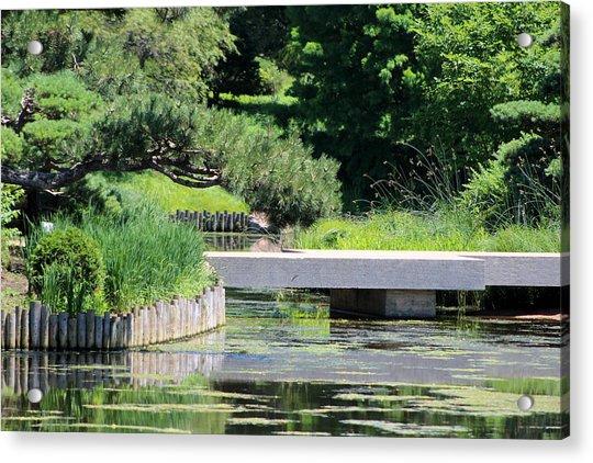 Bridge Over Pond In Japanese Garden Acrylic Print