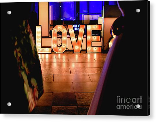 Bright Wooden Letters With Word Love In A Party Acrylic Print