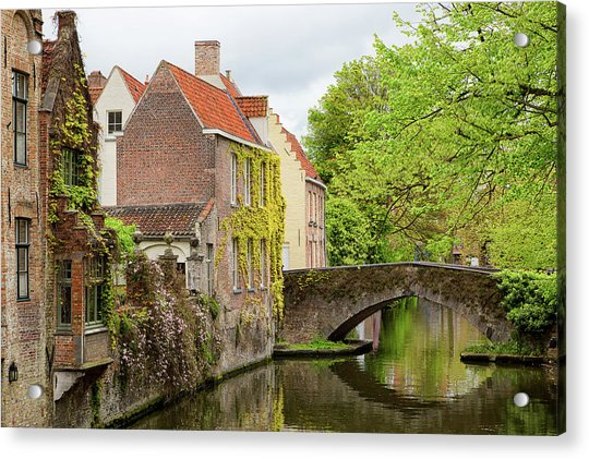 Bruges Footbridge Over Canal Acrylic Print