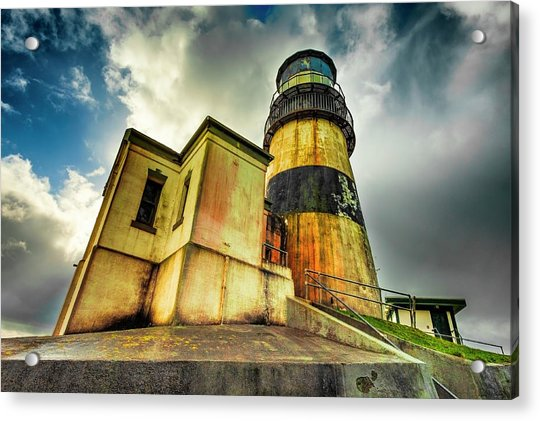 Cape Disappointment Lighthouse Under Dramatic Skies Acrylic Print