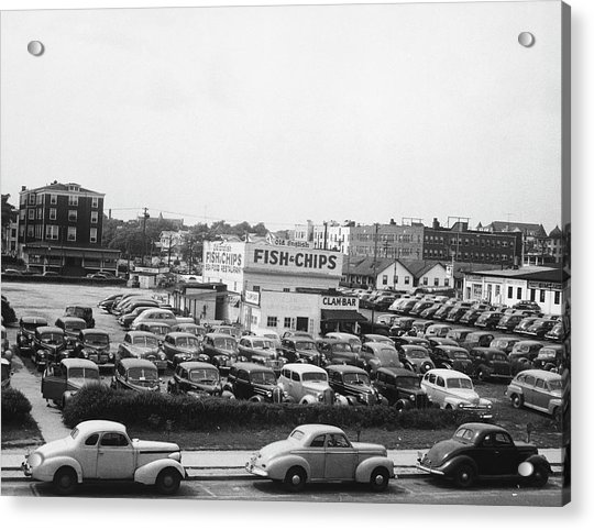 Cars On Parking In Asbury Park, Nj, B&w Acrylic Print by George Marks