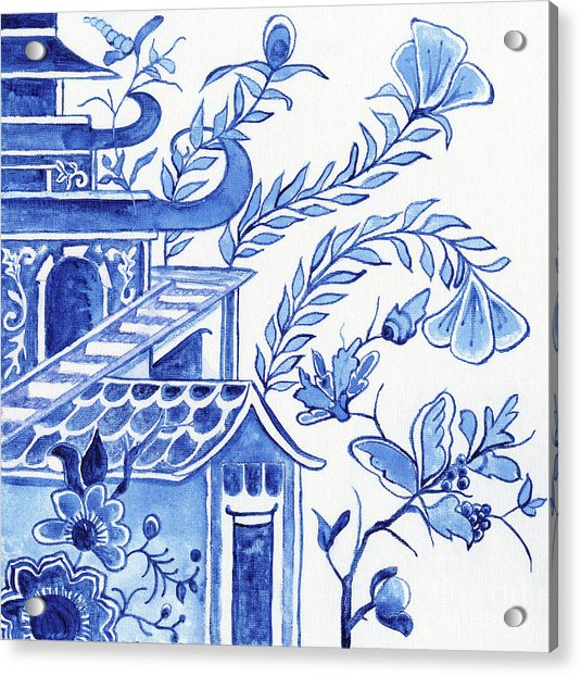 Chinoiserie Blue And White Pagoda Floral 1 Acrylic Print