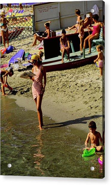 Christy Turlington In Portofino Acrylic Print by Arthur Elgort