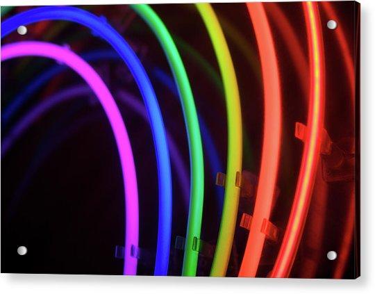 Circles Of Neon Rainbow Light Acrylic Print by Peskymonkey