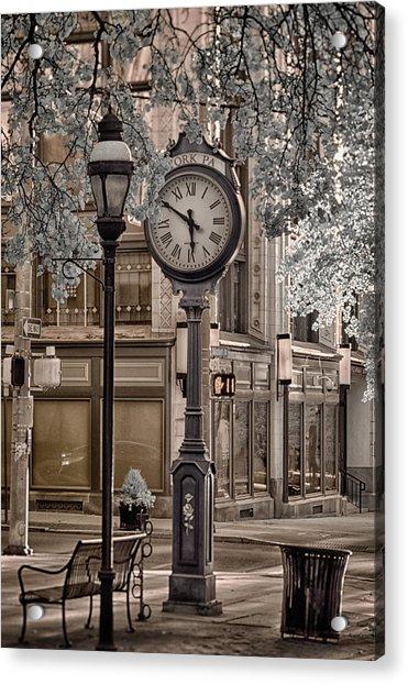 Clock On Street Acrylic Print