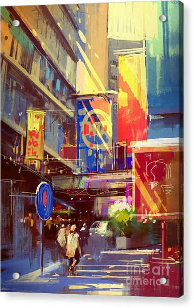 Colorful Painting Of Urban Acrylic Print by Tithi Luadthong
