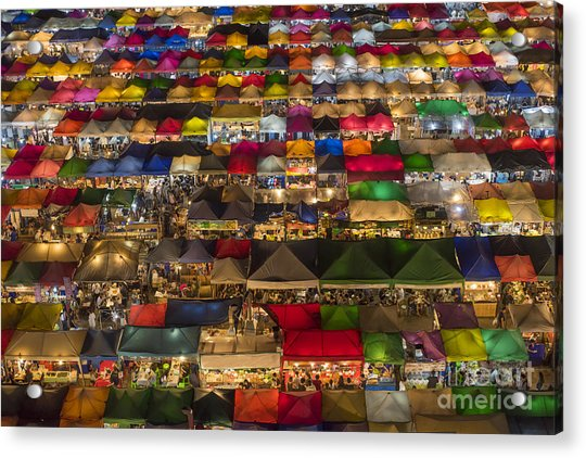 Colorful Street Market From Above Acrylic Print by Duke.of.arch