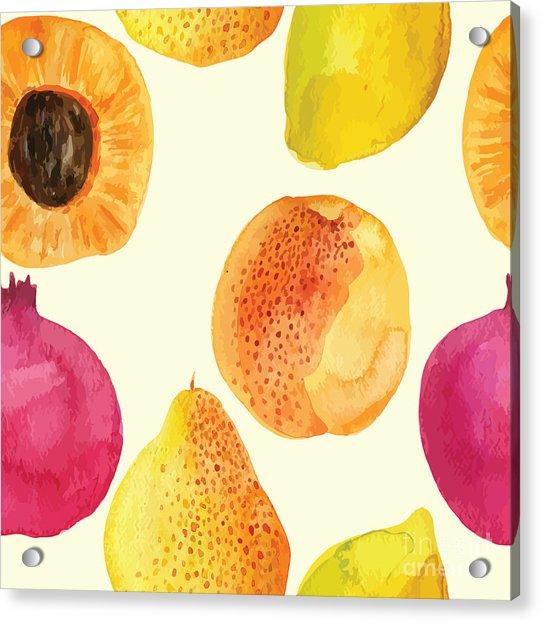 Colorful  Watercolor Vector Fresh Acrylic Print by Alexandra Dzh