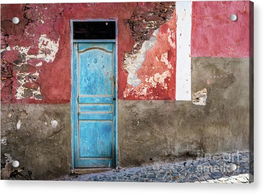 Colorful Wall With Blue Door Acrylic Print