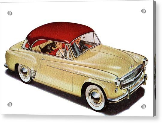 Couple In Car With Scotty Dog Acrylic Print by Graphicaartis