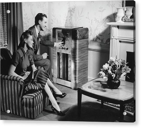 Couple Listening To Radio In Living Acrylic Print