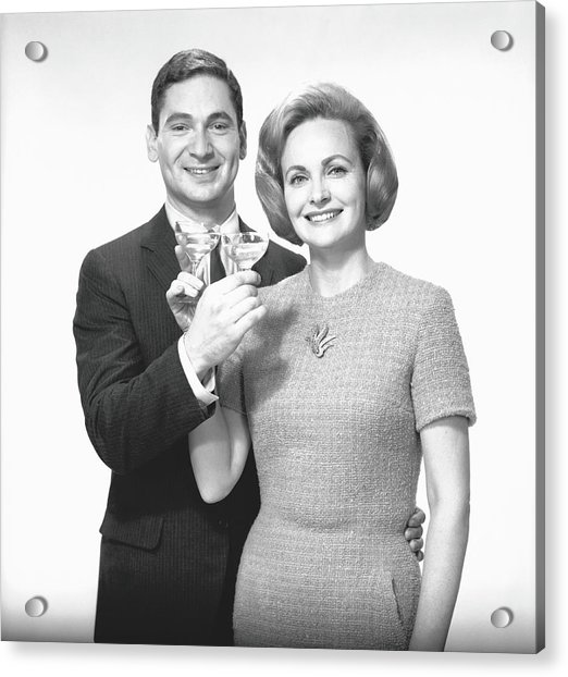 Couple Toasting Champagne In Studio Acrylic Print