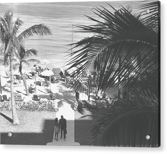 Couple Walking In Path Towards Beach Acrylic Print by George Marks