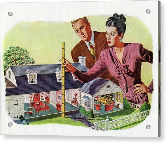 Couple With Model Of New Home Acrylic Print