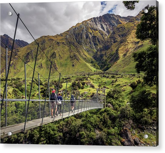 Crossing The River In New Zealand Acrylic Print