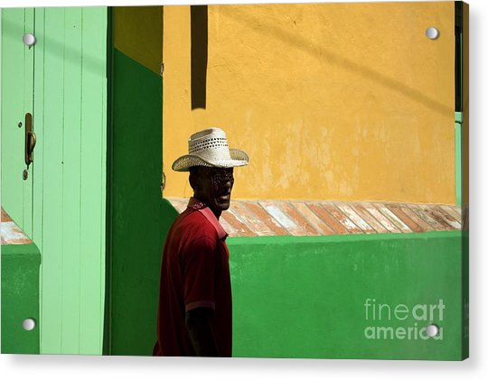 Cuban Man On The Beach Acrylic Print by Danijel Ljusic