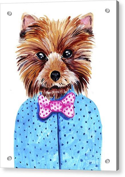 Cute Watercolor Yorkshire Terrier Acrylic Print