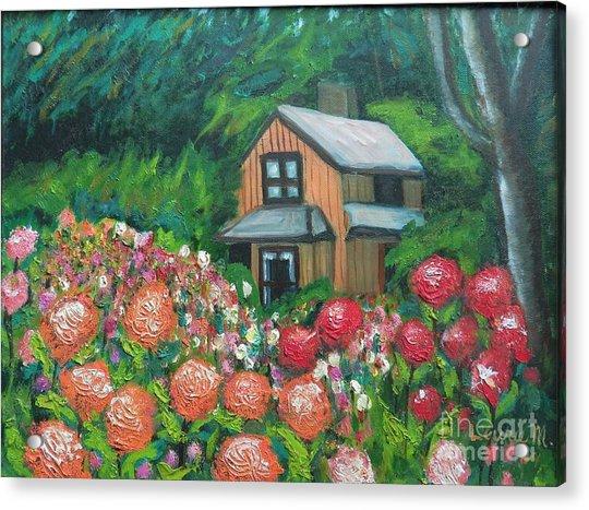 Dahlias In The Woods Acrylic Print