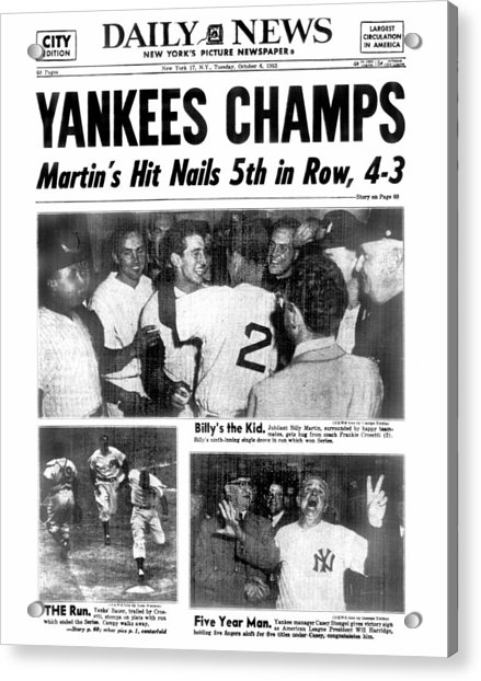 Daily News Back Page Dated Oct. 6, 1953 Acrylic Print by New York Daily News Archive
