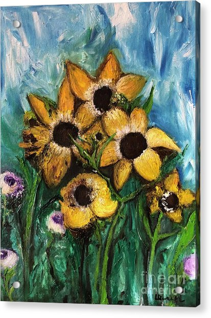 Acrylic Print featuring the painting Dancing Flowers by Laurie Lundquist