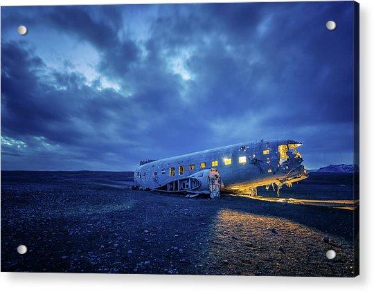 Dc-3 Plane Wreck Illuminated Night Iceland Acrylic Print