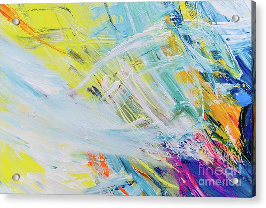 Detail Of Brush Strokes Of Random Colors To Use As Background An Acrylic Print